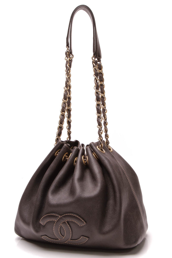 Chanel CC Drawstring Bucket Bag Black