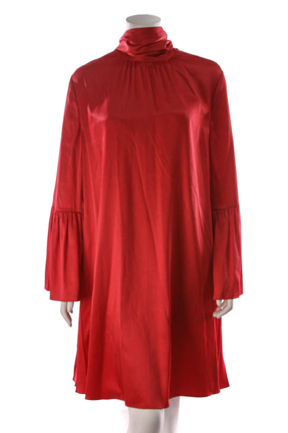 Fendi Tie-Neck Satin Dress Red Size 48