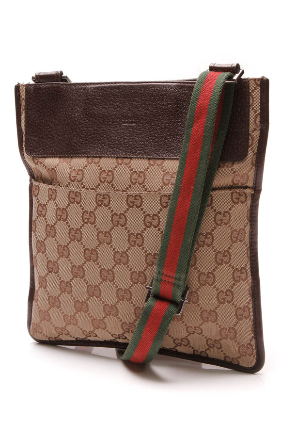 Gucci Web Messenger Crossbody Bag Signature Canvas Beige