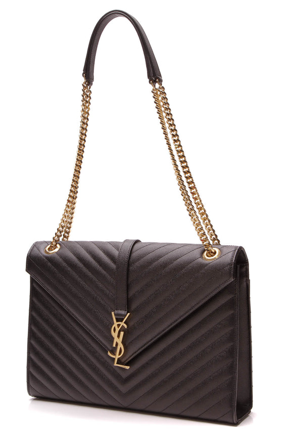 Yves Saint Laurent YSL Chevron Large Envelope Chain Bag Black