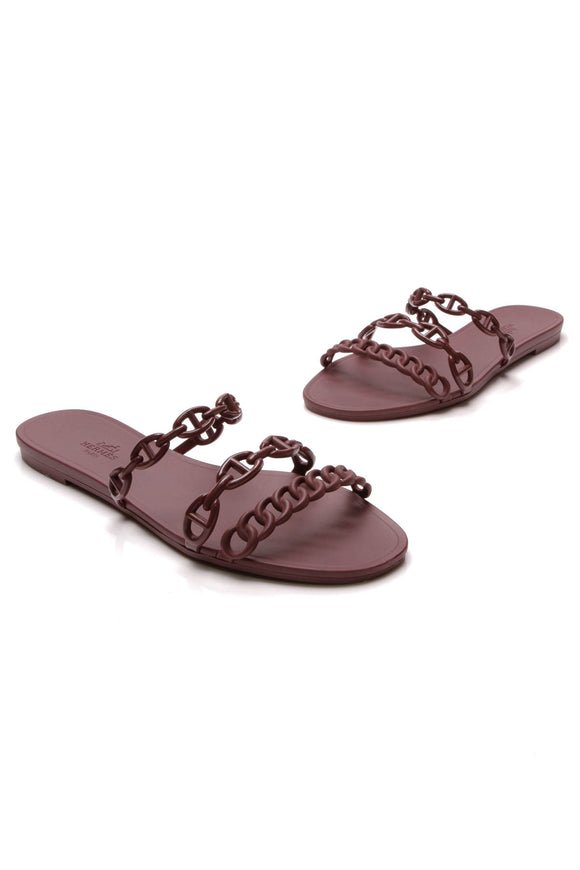 Hermes Chaine d'Ancre Sandals Burgundy Size 38