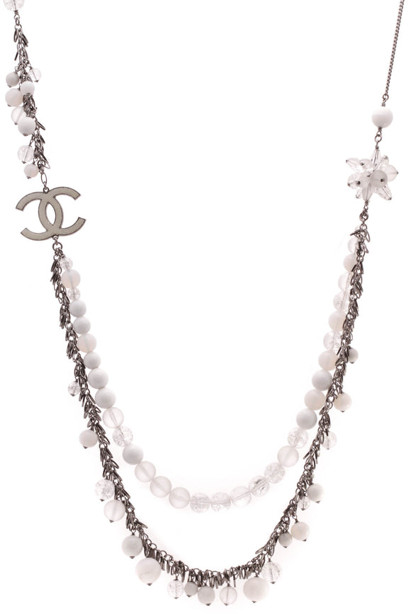Chanel Multistrand Beaded Necklace Gunmetal
