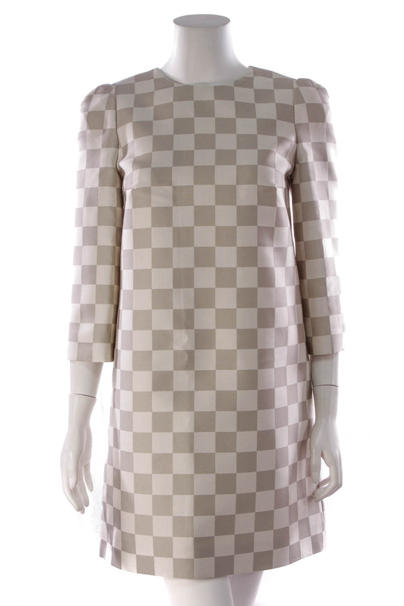 Louis Vuitton Damier Print Shift Mini Dress Gray White Size 36