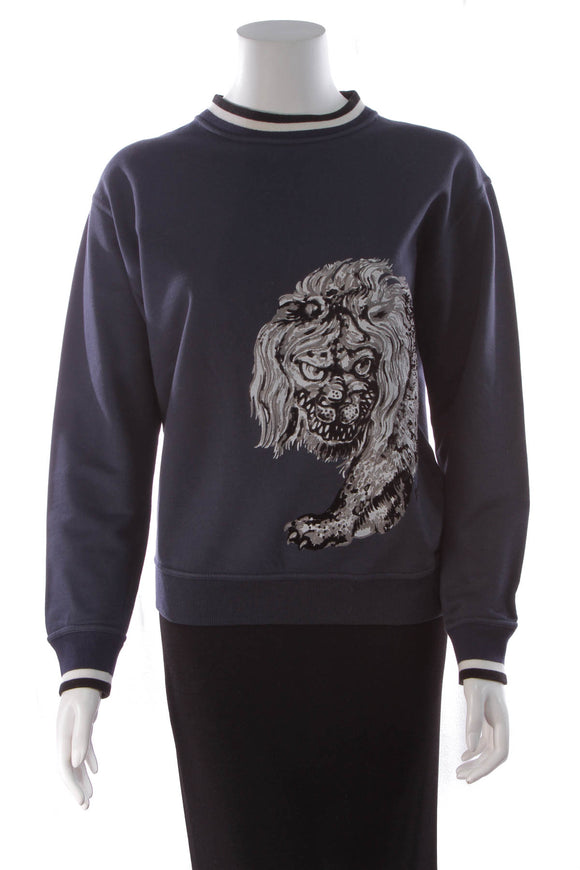 Louis Vuitton Chapman Lion Men's Sweatshirt Navy Size XS