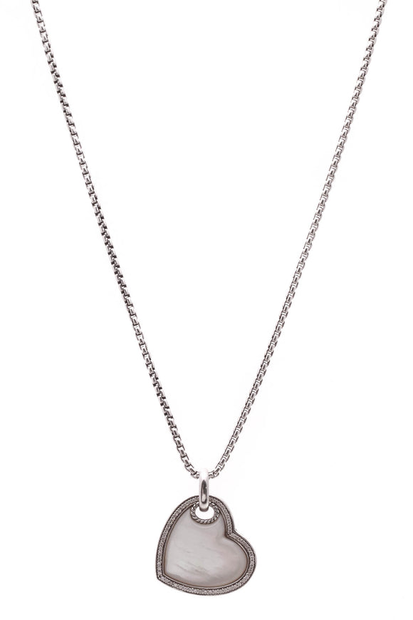 David Yurman Diamond & Mother of Pearl Heart Pendant Necklace Silver