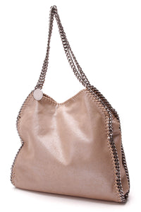 Stella McCartney Falabella Chamois Small Tote Bag Metallic Camel
