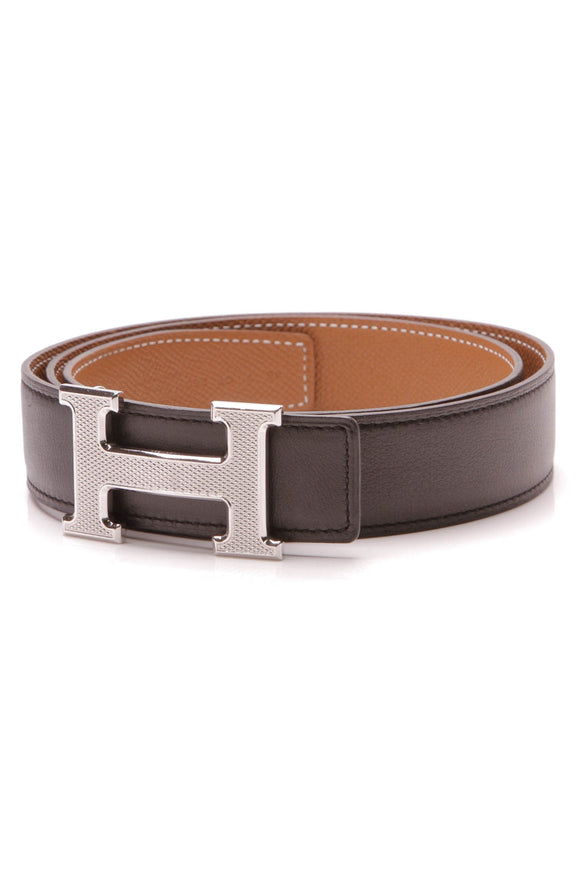 Hermes Reversible Guilloche H Belt Black Gold Togo