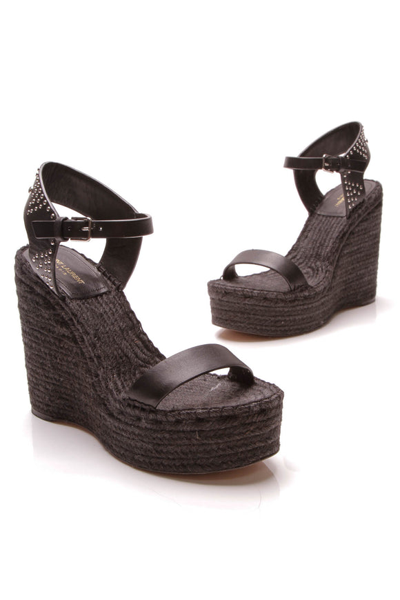 Yves Saint Laurent Espadrille Wedges Black Size 40.5