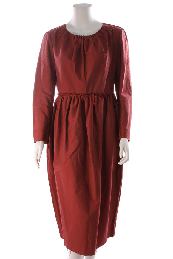 Brock Collection Raw Edge Long Sleeve Dress Burgundy Size 16