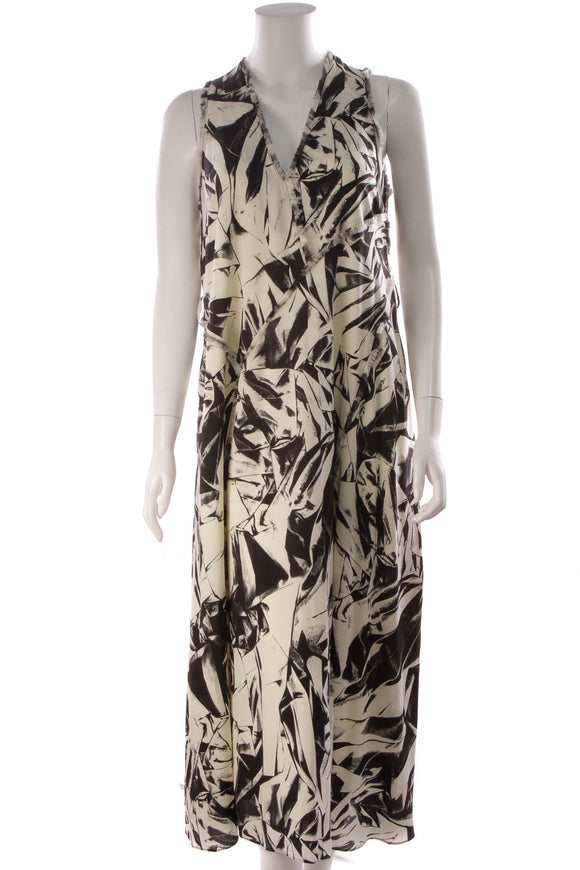 Proenza Schouler V Neck Dress Black Ivory Size 10