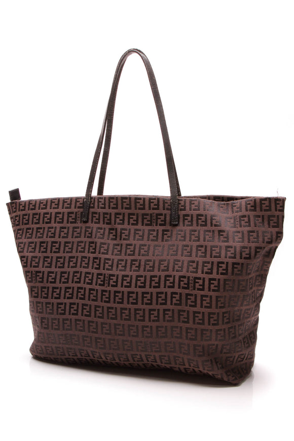Fendi Vintage Tote Bag Brown Zucchino