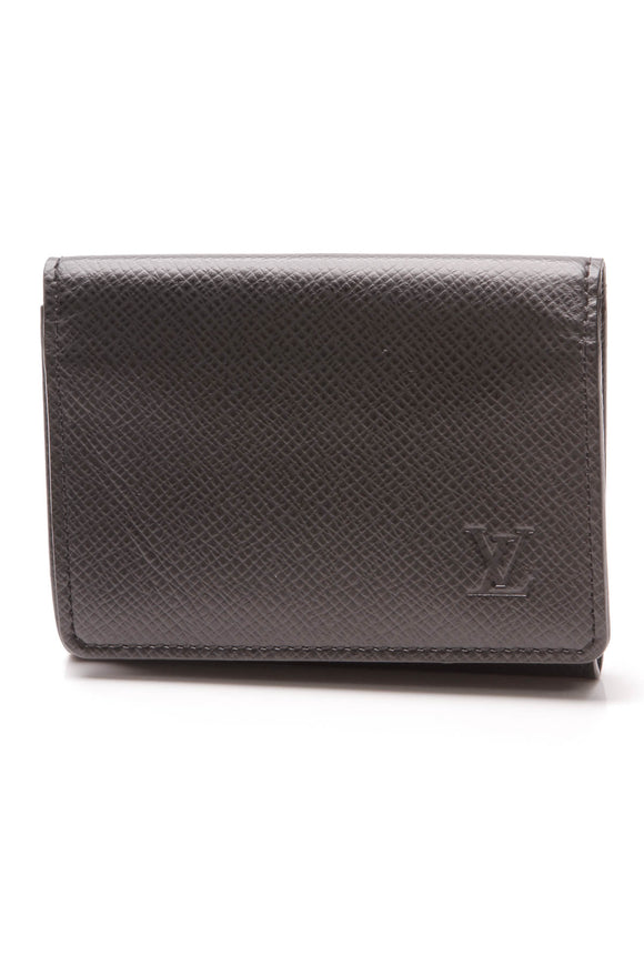Louis Vuitton Business Card Holder Black Taiga