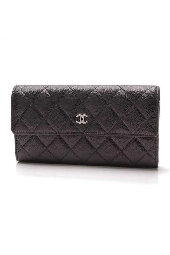 Chanel Flap Continental Wallet Black Caviar