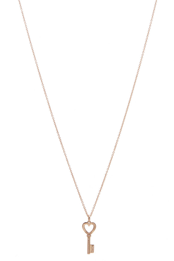 Tiffany & Co. Heart Key Pendant Necklace Gold