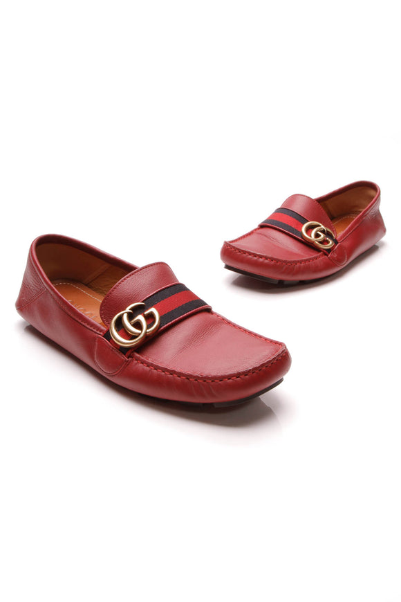 Gucci Web Driver Men's Loafers Red US Size 6.5