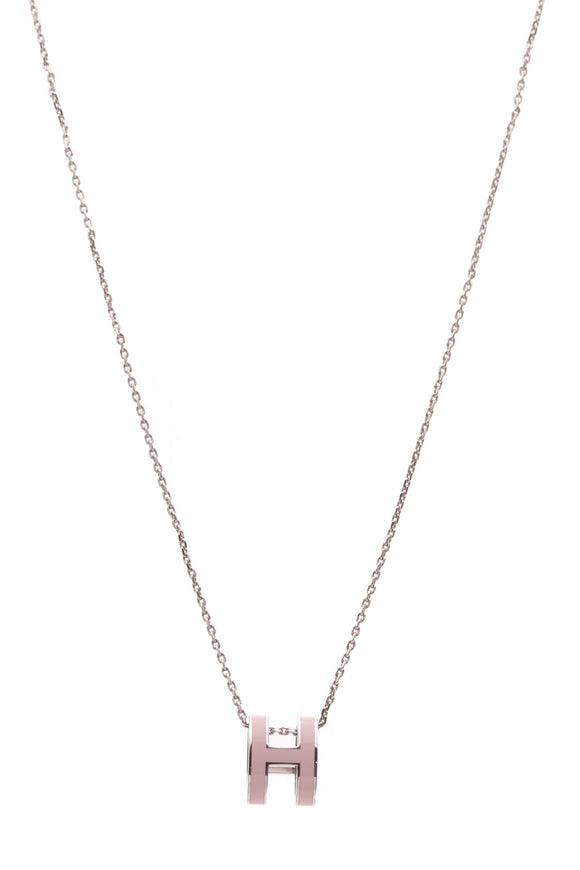 Hermes Pop H Necklace Pink Silver