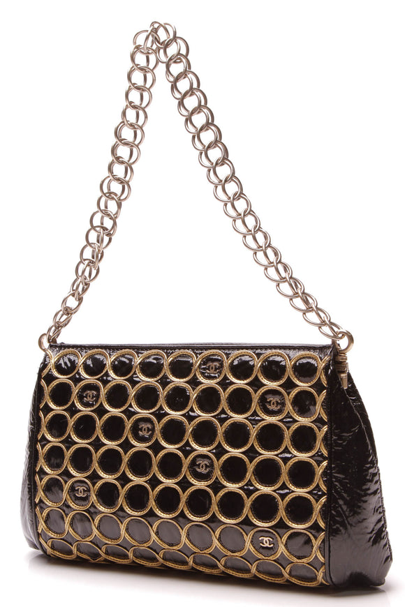 Chanel Rings Shoulder Bag Black Gold Patent