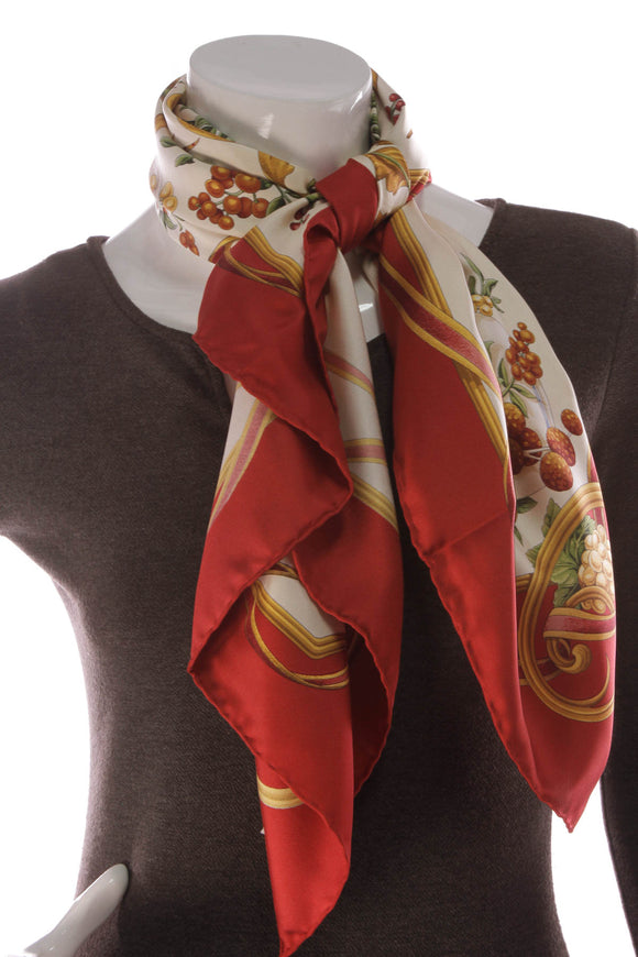 Salvatore Ferragamo Birds & Fruit Silk Scarf Multicolor