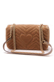 Gucci Marmont Small Shoulder Bag Matelasse Velvet Brown