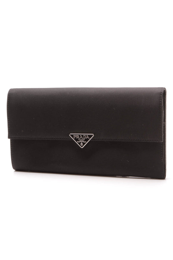 Prada Tessuto Flap Wallet Black Nylon