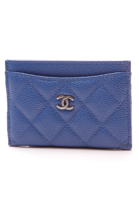 Chanel Card Holder Blue Caviar