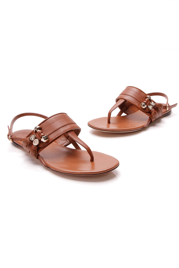 Gucci Tassel Thong Sandals Brown Size 35.5