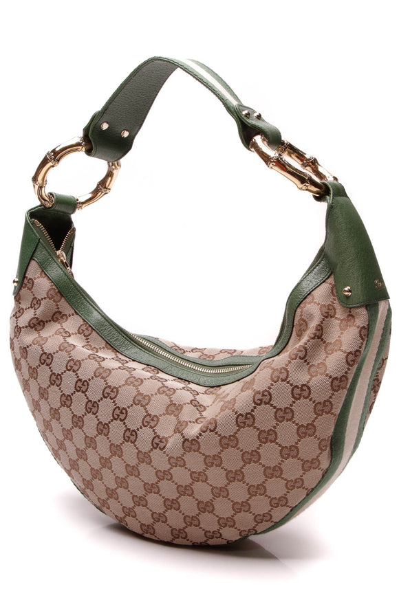 Gucci Bamboo Ring Hobo Bag Signature Canvas Green