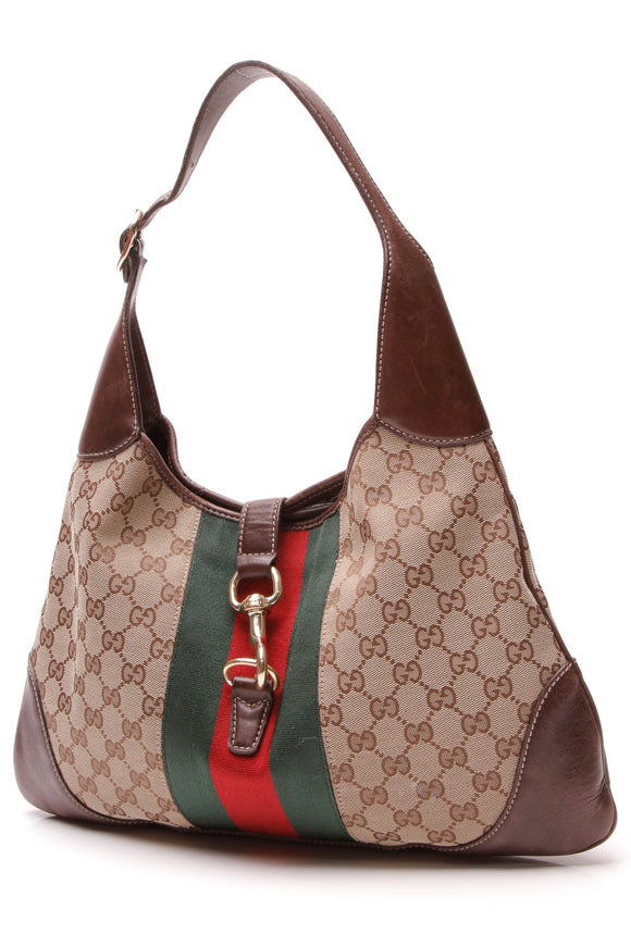 Gucci Jackie O' Bouvier Hobo Bag Signature Canvas Beige Brown