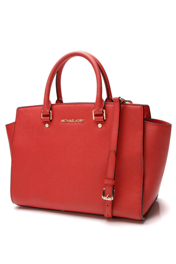 Michael Kors Selma Large Satchel Bag Red