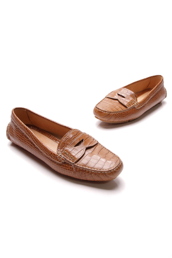 Prada Embossed Loafers Tan Size 38