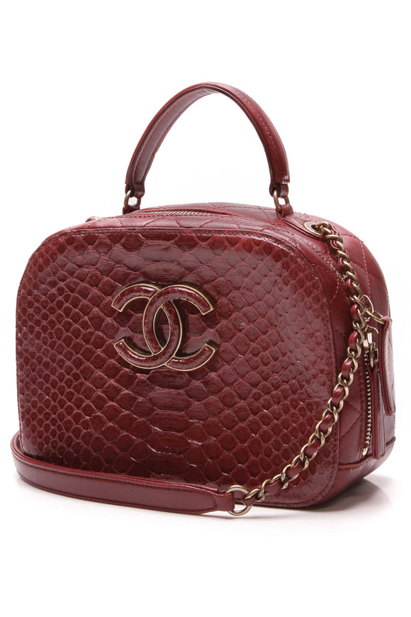Chanel Python Coco Curve Vanity Case Bag Burgundy