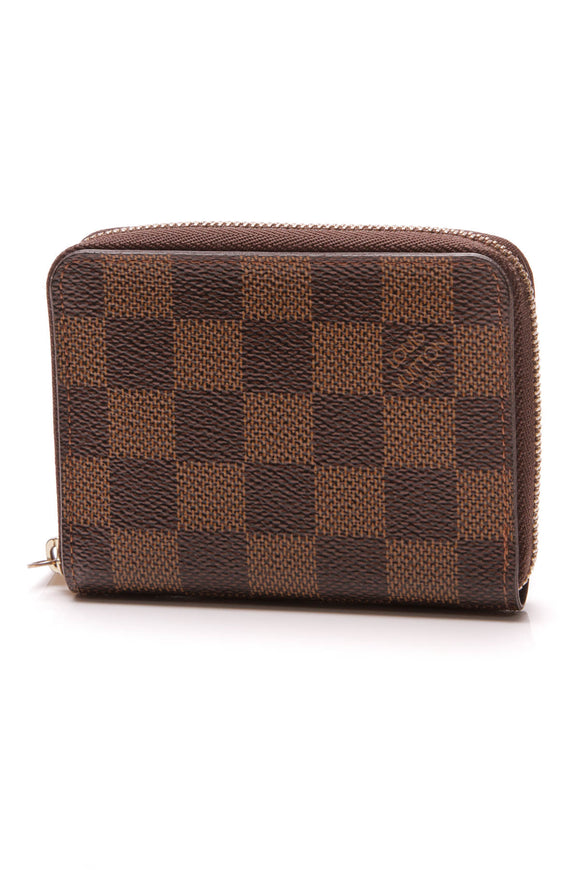 Louis Vuitton Zippy Coin Purse Wallet Damier Ebene Brown