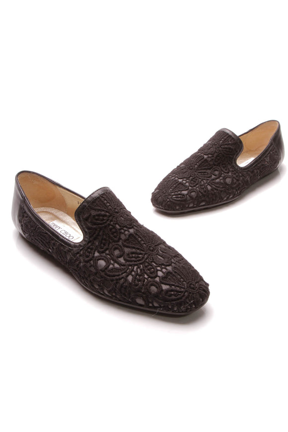 Jimmy Choo Crochet Loafer Flats Black Size 39.5