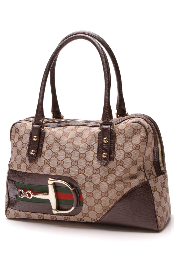 Gucci Hasler Boston Bag Signature Canvas Brown