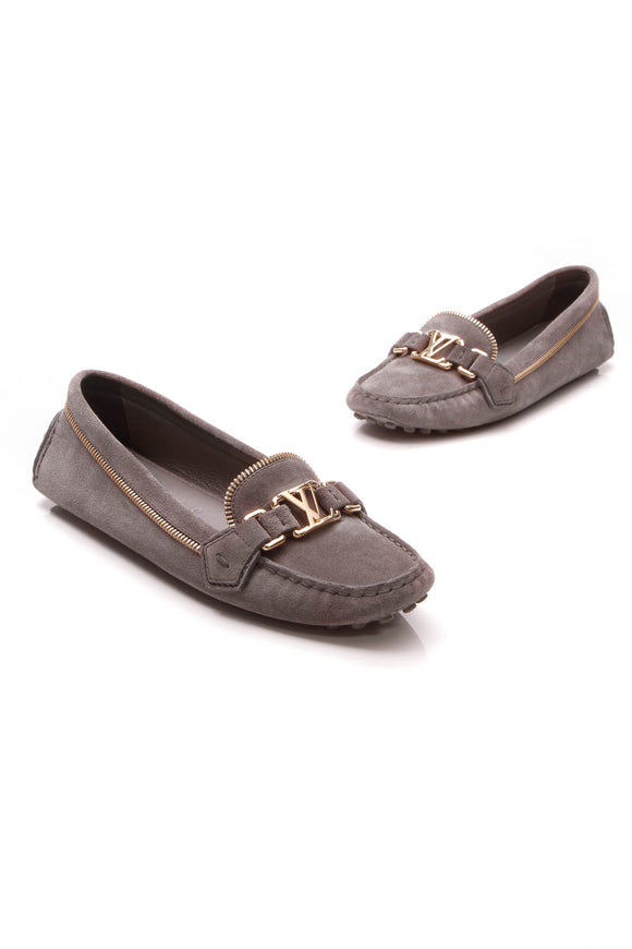 Louis Vuitton Oxford Zip Loafers Gray Size 38