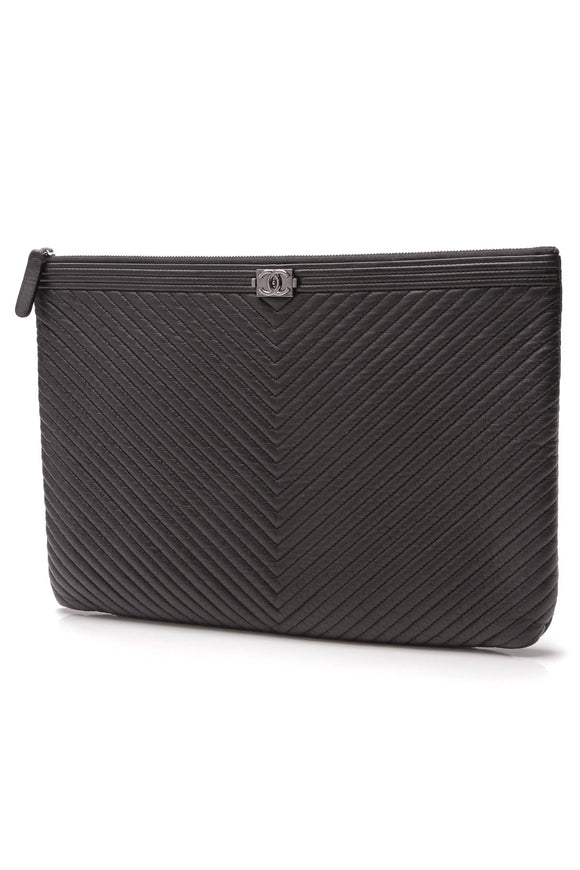 Chanel Chevron Boy O'Case Large Zip Pouch Black
