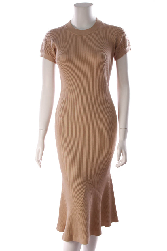 Brandon Maxwell Shiori Ribbed Knit Dress Nude Size Large