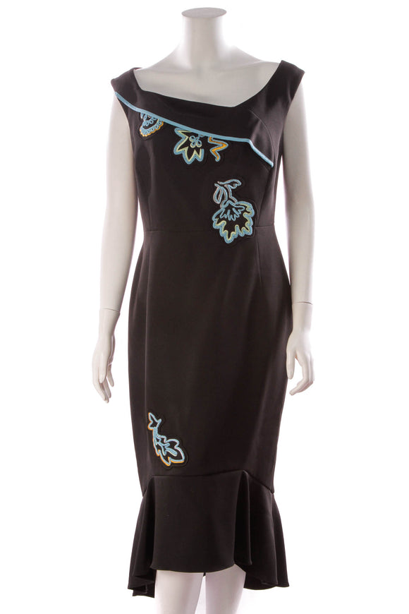 Peter Pilotto Cady Embroidered Dress Black Size 12