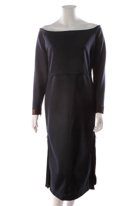 Fendi Off-the-Shoulder Midi Jersey Dress Navy Size 48