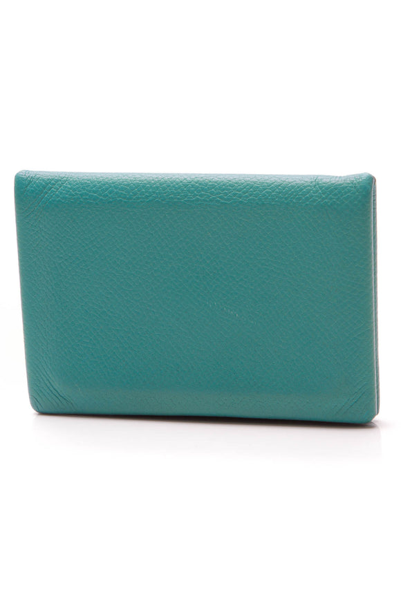 Hermes Calvi Verso Card Holder Vert Verone Blue Green