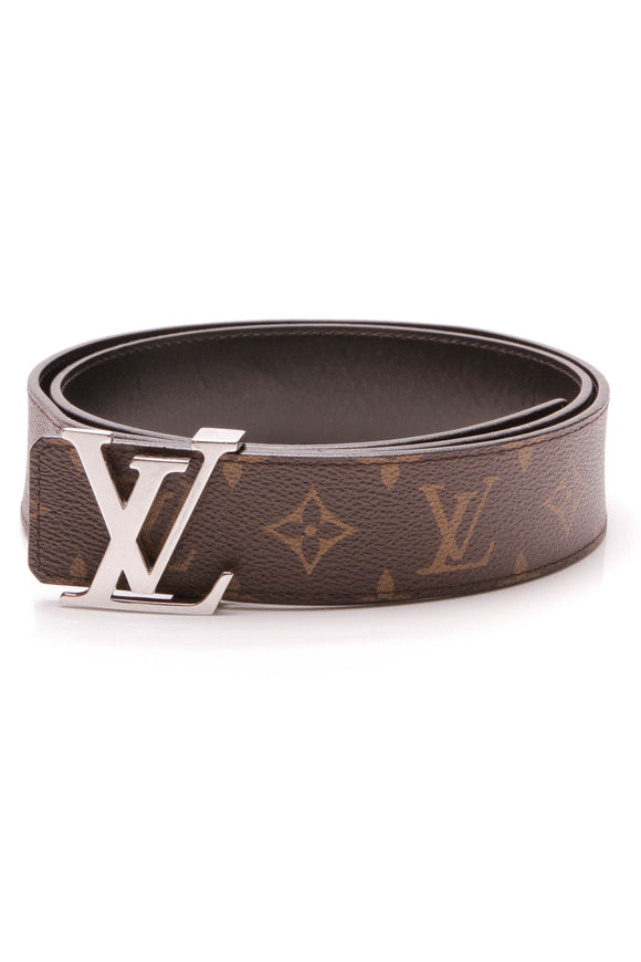 Louis Vuitton LV Initiales 40mm Reversible Belt Monogram Macassar Size 38 Brown