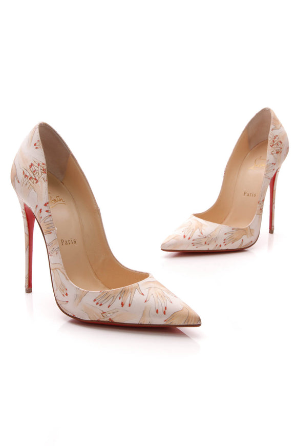 Christian Louboutin So Kate 120 Beauty Tissu Pumps Ivory Size 39.5