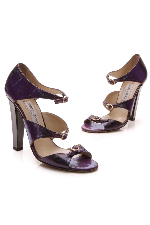 Jimmy Choo Triple Strap Heels Purple Size 39.5