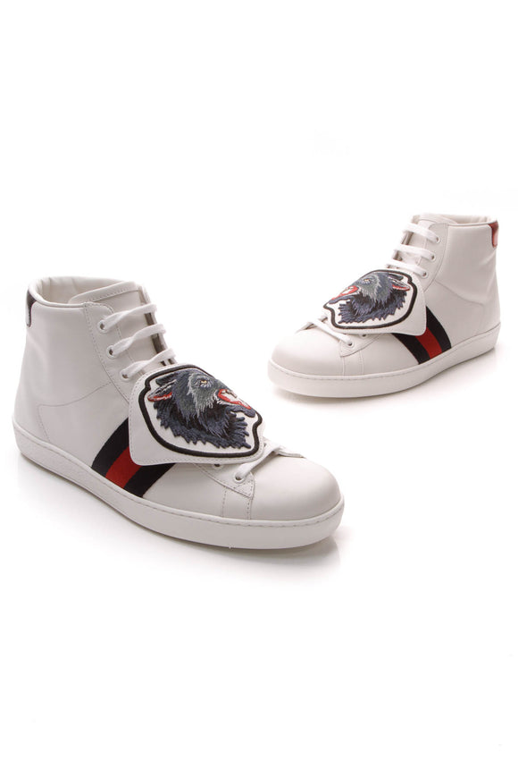 Gucci High-Top Wolf Ace Sneakers White US Size 9