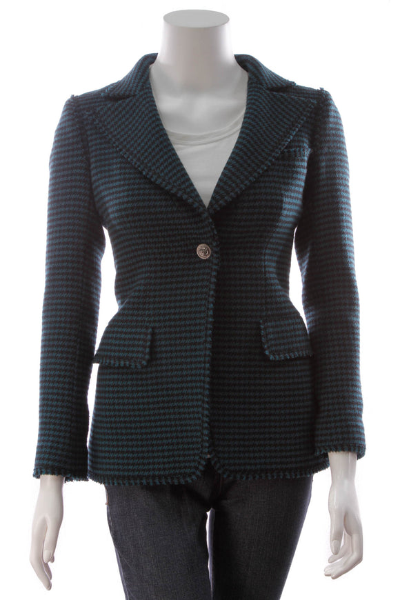 Chanel Houndstooth Jacket Teal Size 34