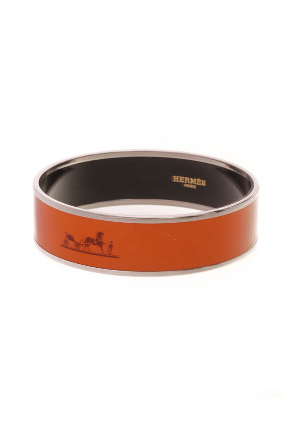 Hermes Wide Caleche Bangle Bracelet Orange