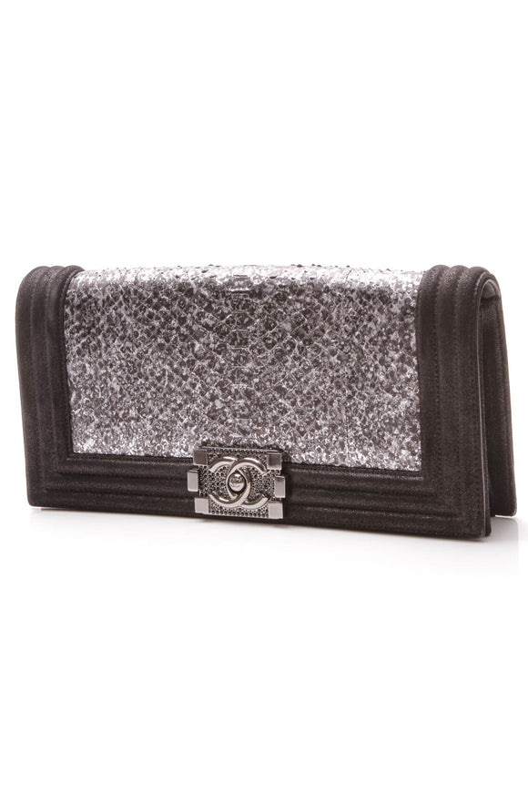 Chanel Python Boy Flap Clutch Bag Black Silver
