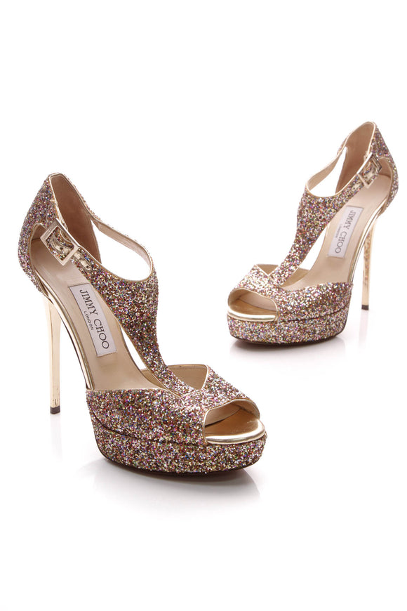Jimmy Choo Totem Glitter Platform Pumps Multicolor Size 37.5