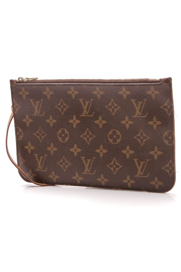 Louis Vuitton Neverfull Pouch Wristlet Bag Monogram Brown