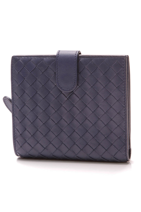 Bottega Veneta Intrecciato French Bi-Fold Wallet Indigo